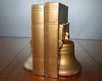 Pair of Goldtone Ceramic Liberty Bell Bicentennial Bookends - Federal Style - 1975