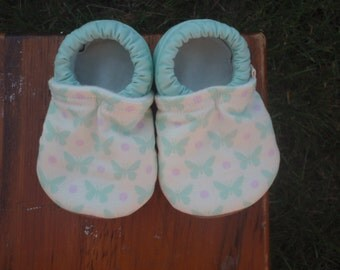 Baby Shoes for Girls - Cream with Mint Butterflies and Lavender Dots - Custom Sizes 0-24 months