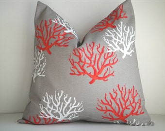Indoor / Outdoor  Decorative Pillow cover In Isabella Salmon, Available In All Sizes, Throw Pillow