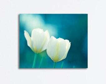 "Flower Canvas Wrap - teal aqua blue photography tulips canvas print white nature botanical wall art floral, 24x30, 20x24, 16x20 ""Charisma"""