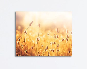 """Gold Nature Canvas Print - mustard yellow photography golden botanical canvas gallery wrap fine colorful artwork, """"Nothing Gold Can Stay"""""""