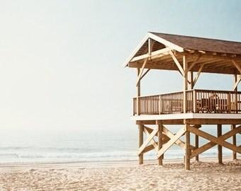 """Pale Beach Photography - light blue beige brown white pavillion landscape ocean sea sand coastal wall art large photograph, """"The Pavilion"""""""