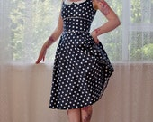"1950's ""Coraline"" Polka Dot Rockabilly Dress with Full Skirt, Peter Pan Collar and Ric Rac Trim - Custom made to fit"