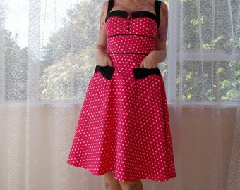 Rockabilly 1950s 'Jenny' Polka Dot Dress with Sweetheart Neckline, Black Lapels and Bow Pockets - Any Colour - Custom made to fit