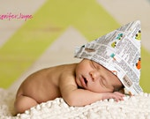 Newspaper Fabric Hat Sailor Hat black & white Classified Ads Fabric Newborn Photography Prop READY TO SHIP