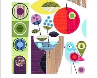 Ellen Giggenbach, paper cut, summer, little bird, still life, print