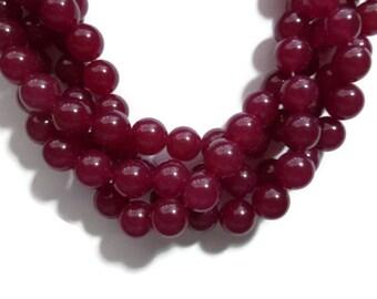 Magenta Jade - 12mm Round - Full Strand - 33 beads