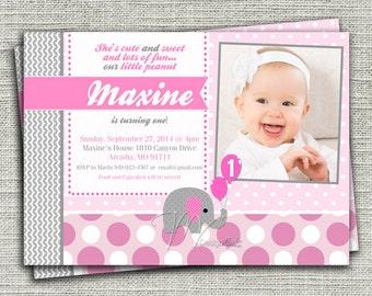 Little Peanut Elephant Birthday Invitation - Digital File You Print