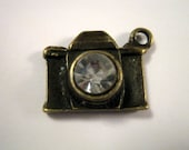 Rhinestone Bronze Tone Camera Charms  (1178)