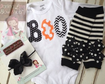 Newborn Baby Girl Outfit for Fall and Halloween - My First Boo - Leg warmers, Bodysuit & Headband - polka dots and chevron