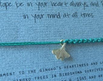 Matte Gold over 925 Sterling Silver Gingko (10mm) String Bracelet - The Bearer of Hope and Symbol of Hope