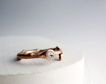 14K Rose Gold White Sapphire Twig Ring, Engagement Ring, MADE TO ORDER