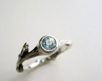 Silver Twig Ring with Aquamarine 4mm, Silver Branch Ring