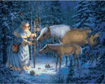 Santa with Animals 7 Cross Stitch Pattern