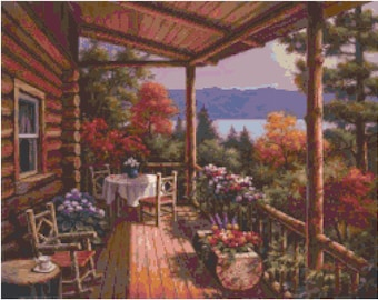 Country Porch 1 Cross Stitch Pattern