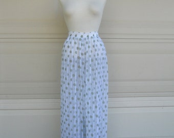 Vintage Sheer Pants Polka Dot Wide Leg Pants . Pleated Palazzo Pants