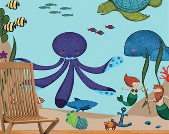 Ocean Wall Stickers Decals for Under the Sea Kids Room