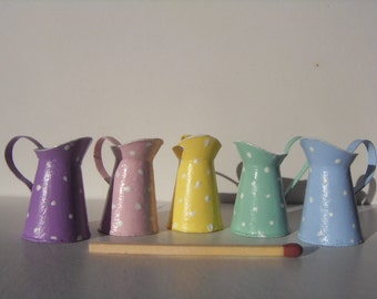 shabby pitchers pastel colors - miniature 1:12 scale for dollhouse
