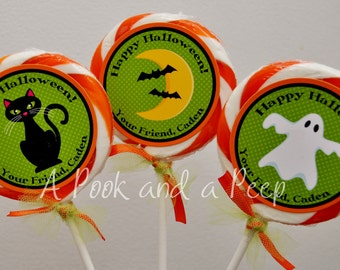 Halloween Party Favor Lollipop Labels in Green, Orange, and Black Set of 12