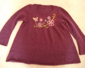 Handknit embroidered tunic in Rowan kid classic XL