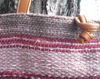 Borsa lana e cuoio, tessuta a telaio
