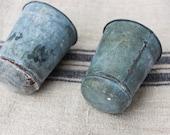 Vintage Zinc Sap Pots - French Flower Pot