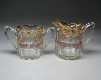 EAPG INDIANA GLASS  panelled / paneled strawberry glass cream and sugar with gold .