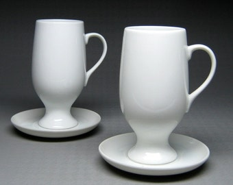 vintage LAGARDO TACKETT for SCHMID 2 cups and 2 saucers white mid century modern