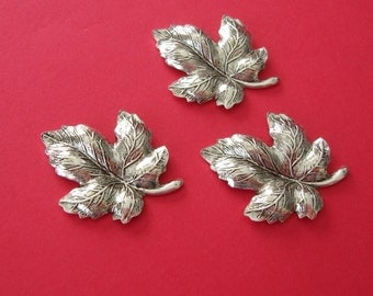 3- Leaf Embellishment  Antique Silver Ox  Over Brass  Stamping Cameo Jewelry Findings .