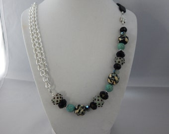 Black and Turquoise Art Deco Necklace