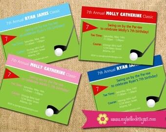 Printable Golf Party Invitation - Birthday Invite DIY - Golf Tee Flag Ball Club miniature child children invite mini golf green tournament