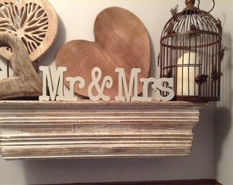 Painted Wooden Letters - Mr & Mrs - New Font T - 12cm, Free-standing, Wedding letters, wedding decor,