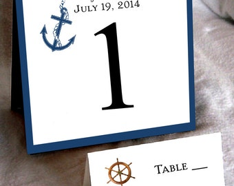 10 Nautical Beach Table Numbers and 100 place settings