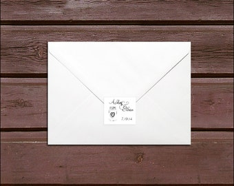 100 Mason Jar Wedding Envelope Seals. Personalized Sticker Labels.
