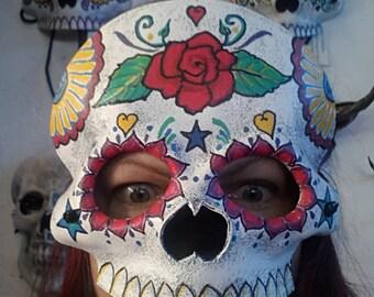 Sugar Skull Dia De Los Muertos Calavera Leather Mask