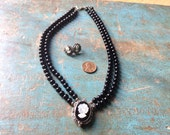 Double stranded onyx bead,mother of pearl, 925 silver and marcasite cameo necklace and earrings set
