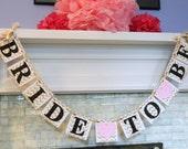 Bridal Shower Decorations / Bachelorette Decor / Gold Chevron Bridal shower Decortion / Bride to Be banner / Custom Colors