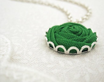 Leprechaun Green Necklace - Clover, Forest, Grass Fabric Flower Necklace