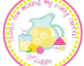 NEW - Pink Lemonade Favor Tags or Stickers