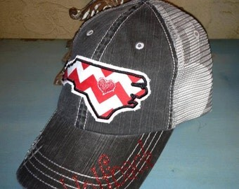 North Carolina State Wolfpack NCS Baseball Bling Ladies Womens Trucker Hat