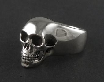 Skull Ring - White Bronze Human Skull Ring - Memento Mori