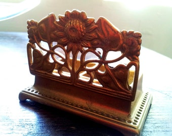 VINTAGE INK HOLDER :  Solid Brass Floral Art Deco 1940's Ink Holder For Your Office Desk