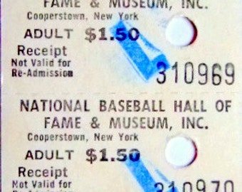 Vintage Authentic Admission Ticket Stub to the National Baseball Hall of Fame and Museum, Cooperstown NY, 1973, Gift for Him, Christmas