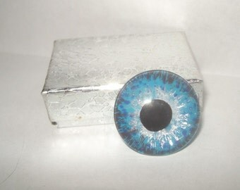 Cerulean blue silver eyeball anatomy taxidermy loose human eye cabochon glass tile evil eye repellent ooak for wire wrapping