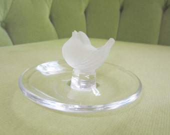 Signed Lalique Crystal Finch Bird Ring Dish