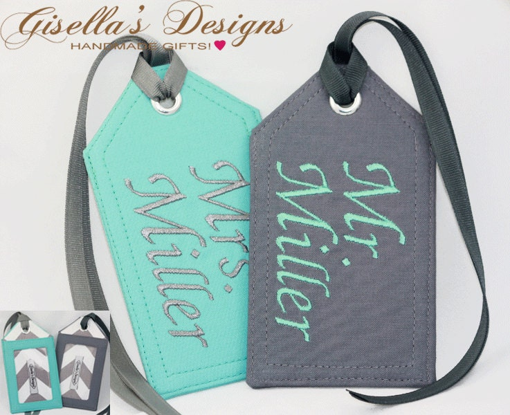 Personalized Luggage Tags Wedding Gift: Mr. And Mrs. Personalized Luggage Tags Set Of Two Custom