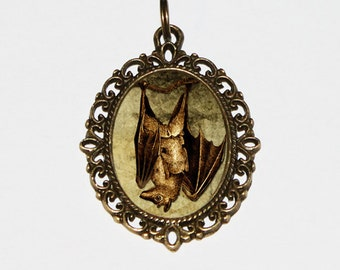 Bat Necklace, Horror Jewelry, Vampire Bats, Gothic, Halloween, Bronze Oval Pendant