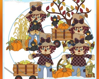 Fall Scarecrow Girls 2 Clipart (Digital Download)