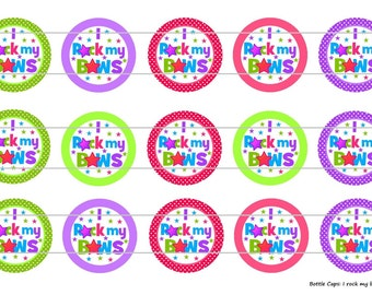 "15 I Rock My Bows 1 Digital Download for 1"" Bottle Caps (4x6)"