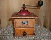Antique Wood and Metal Table Top Hand Crank Coffee Grinder P.B. Macina Acciaio